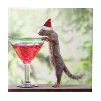 Squirrel Celebrating Christmas Tiles