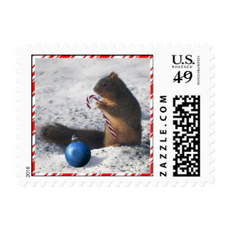 Squirrel Christmas ornament candy cane postage