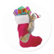 Squirrel Christmas Stocking Sticker