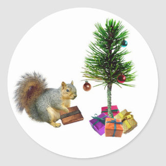 Squirrel Christmas Tree Classic Round Sticker