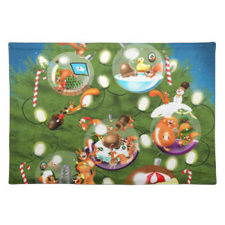 Squirrel Christmas Tree Cloth Placemat