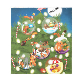 Squirrel Christmas Tree Note Pad