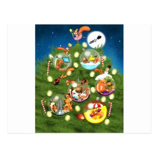 Squirrel Christmas Tree Postcard