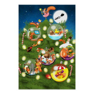Squirrel Christmas Tree Poster