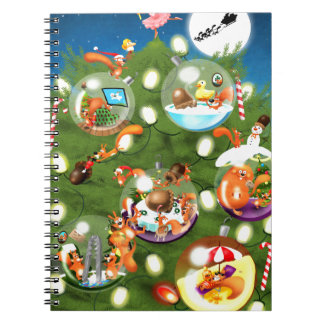 Squirrel Christmas Tree Spiral Notebook