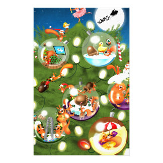 Squirrel Christmas Tree Stationery
