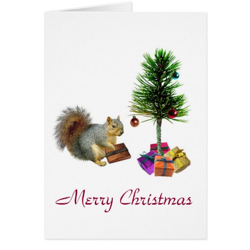Squirrel Christmas Tree Stationery Note Card