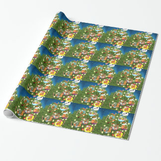 Squirrel Christmas Tree Wrapping Paper