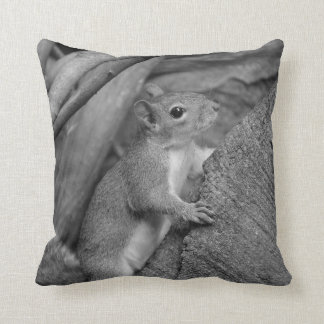 squirrel climbing ficus tree bw throw pillow