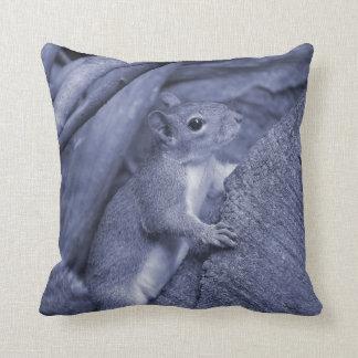 squirrel climbing tree blue animal cute throw pillow