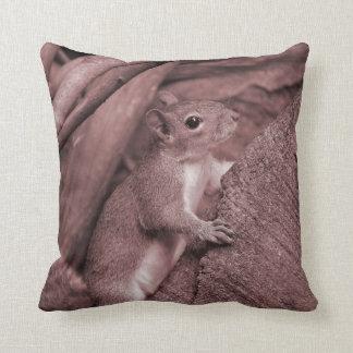 squirrel climbing tree reddish animal throw pillow
