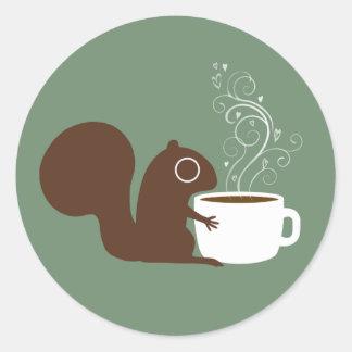 Squirrel Coffee Lover Classic Round Sticker