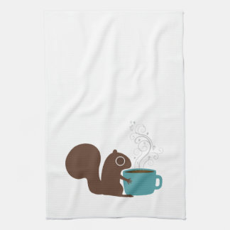 Squirrel Coffee Lover Hand Towel