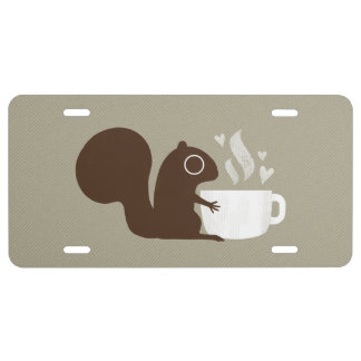 Squirrel Coffee Lover License Plate