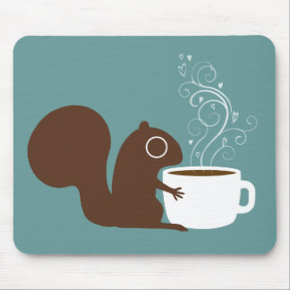 Squirrel Coffee Lover Mouse Pad