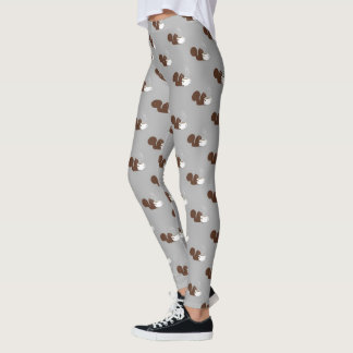Squirrel Coffee Lover Pattern Leggings