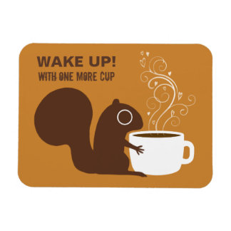 Squirrel Coffee Lover with Custom Text Rectangular Photo Magnet