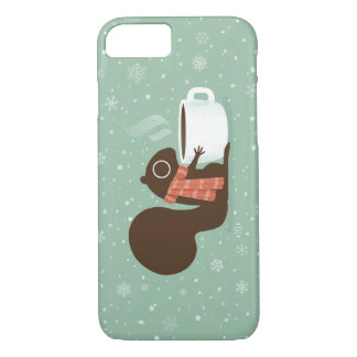 Squirrel Coffee Lover with Striped Scarf iPhone 8/7 Case