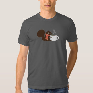 Squirrel Coffee Lover with Striped Scarf T Shirt