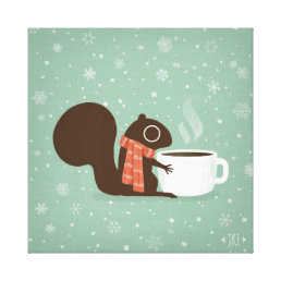Squirrel Coffee Lover Woodland Winter Holiday Canvas Print