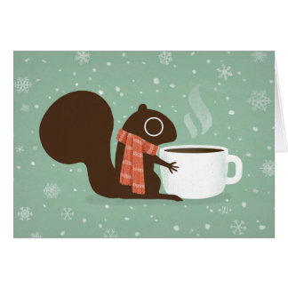 Squirrel Coffee Lover Woodland Winter Holiday Card