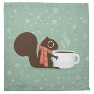 Squirrel Coffee Lover Woodland Winter Holiday Napkin