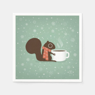 Squirrel Coffee Lover Woodland Winter Holiday Paper Napkin