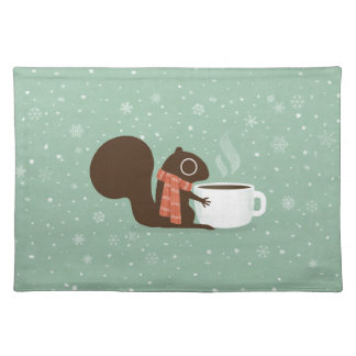 Squirrel Coffee Lover Woodland Winter Holiday Placemat