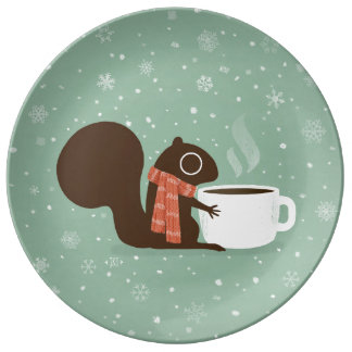 Squirrel Coffee Lover Woodland Winter Holiday Porcelain Plate