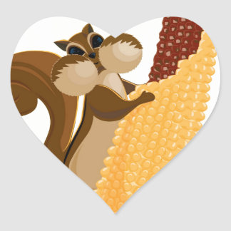 Squirrel & Corn Heart Sticker