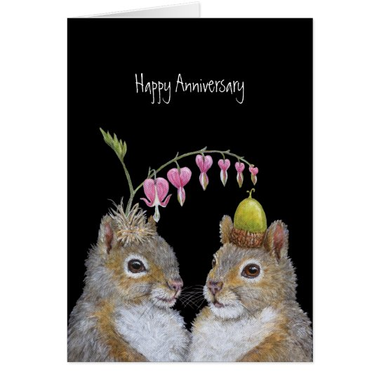 Squirrel couple anniversary card