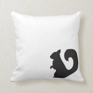 Squirrel critter woodland animal black silhouette throw pillows