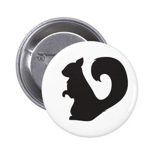 Squirrel critter woodland silhouette graphic pinback button