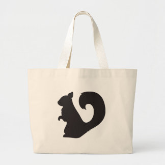 Squirrel critter woodland silhouette graphic large tote bag