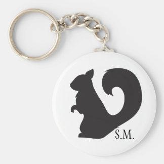 Squirrel critter woodland silhouette initials basic round button keychain