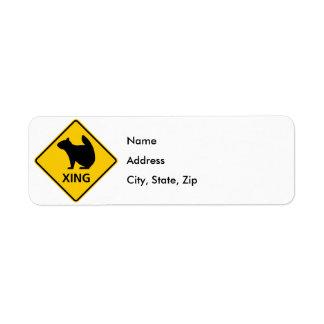 Squirrel Crossing Highway Sign Return Address Label