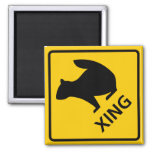 Squirrel Crossing Highway Sign 2 Inch Square Magnet