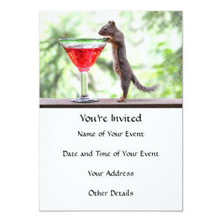 Squirrel Drinking a Cocktail 5x7 Paper Invitation Card