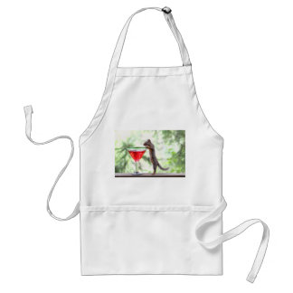 Squirrel Drinking a Cocktail Adult Apron