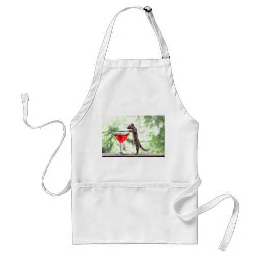 Squirrel Drinking a Cocktail Aprons