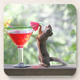 Squirrel Drinking a Cocktail at Happy Hour Beverage Coaster