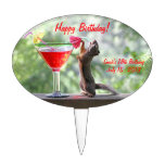 Squirrel Drinking a Cocktail at Happy Hour Cake Pick