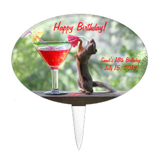 Squirrel Drinking a Cocktail at Happy Hour Cake Topper