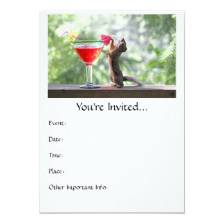 Squirrel Drinking a Cocktail at Happy Hour 5x7 Paper Invitation Card