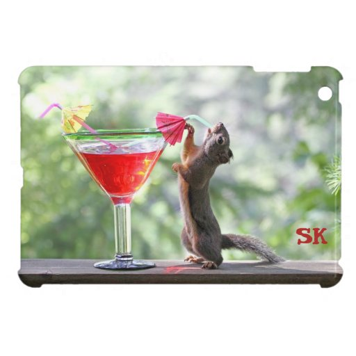 Squirrel Drinking a Cocktail at Happy Hour Cover For The iPad Mini