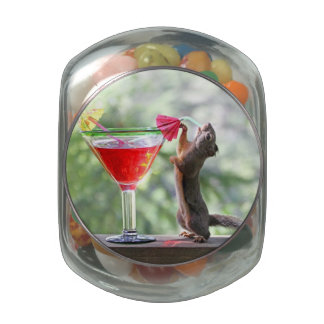 Squirrel Drinking a Cocktail at Happy Hour Jelly Belly Candy Jars