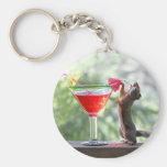 Squirrel Drinking a Cocktail at Happy Hour Keychain