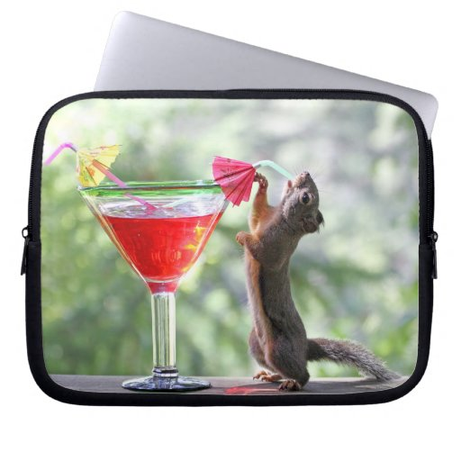Squirrel Drinking a Cocktail at Happy Hour Laptop Computer Sleeve