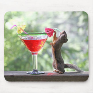 Squirrel Drinking a Cocktail at Happy Hour Mouse Pad