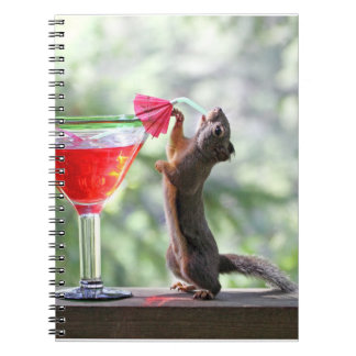 Squirrel Drinking a Cocktail at Happy Hour Spiral Note Book